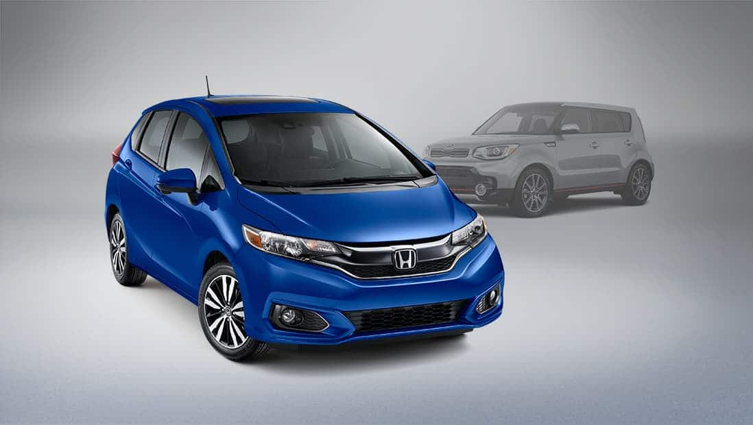 Front passenger-side view of the 2020 Honda Fit in Aegean Blue Metallic.