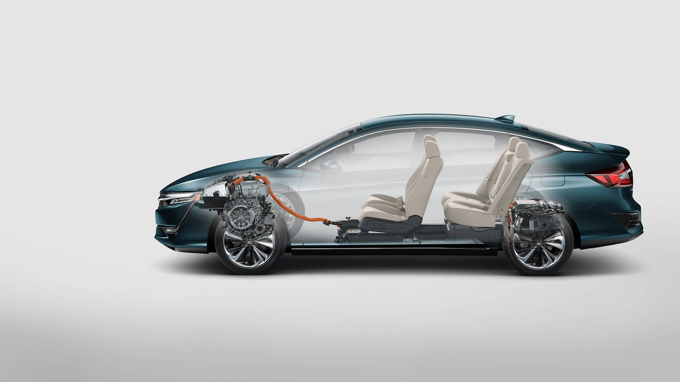 Side profile of 2020 Clarity Plug-In Hybrid with interior shown.