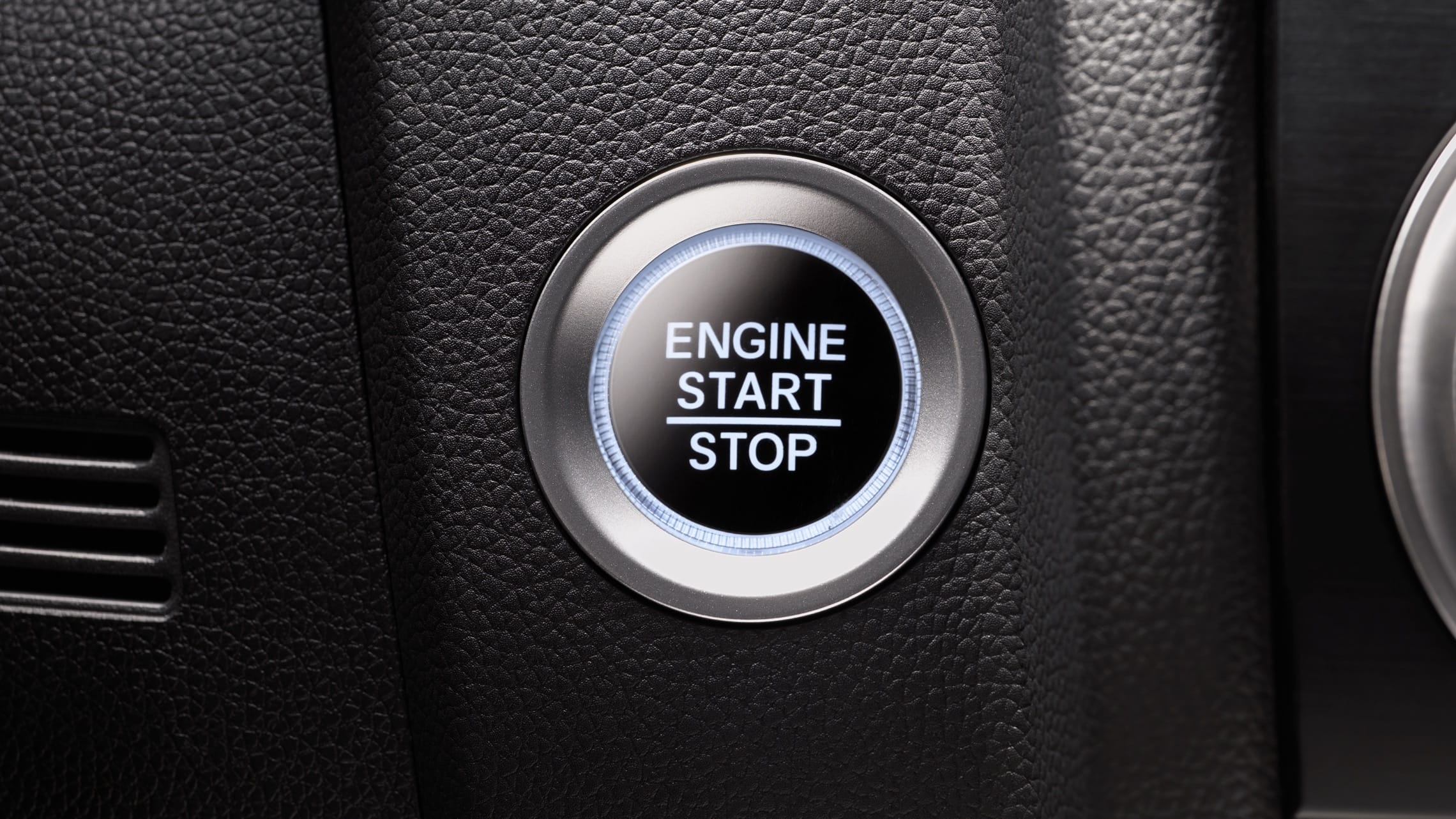 Push button start detail on the 2020 Honda Fit.